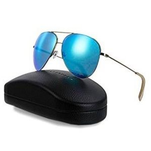 Victoria Beckham sunglasses black rims blue lenses